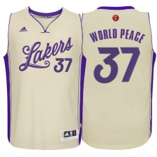Los Angeles Lakers &37 Metta World Peace Cream 2015 Christmas Day Swingman Jersey