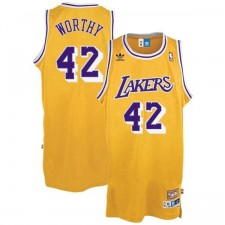 Los Angeles Lakers &42 James Worthy Gold Hardwood Classics Swingman Throwback Jersey