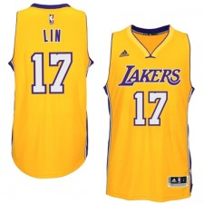 Los Angeles Lakers &17 Jeremy Lin 2014-15 New Swingman Home Gold Jersey