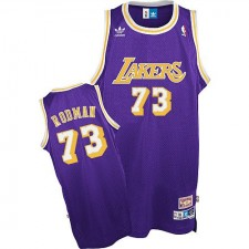 Los Angeles Lakers &73 Dennis Rodman Authentic Throwback Purple Jersey