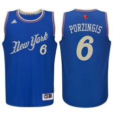 Kristaps Porzingis New York Knicks 6 bleu 2015 le jour de Noël Swingman maillot