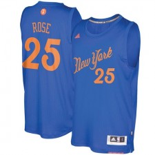 Adidas New York Knicks 25 Derrick Rose authentique bleu Royal 2016 - 2017 Noël NBA Maillot hommes
