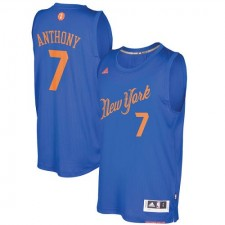 Adidas New York Knicks 7 Carmelo Anthony authentique bleu Royal 2016 - 2017 Noël jour NBA maillot hommes