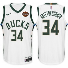 2017-18 saison Giannis Antetokounmpo Milwaukee Bucks &34 Association maillot blanc