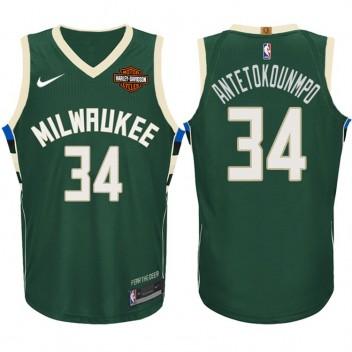 Giannis Antetokounmpo Milwaukee Bucks #34 Icône Vert maillots