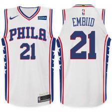 2017-18 saison Joel Embiid Philadelphia 76ers &21 Association maillot blanc