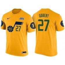 Hommes Rudy gobert Utah Jazz &27 Déclaration Or Nom & Nombre t-shirt