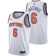 2017-18 Saison Kristaps Porzingis New York Knicks &6 icône Blanc Authentique