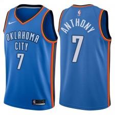 Hommes 2017-18 saison Carmelo Anthony Oklahoma City Thunder &7 Icône Royal maillots