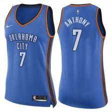 Femmes 2017-18 saison Carmelo Anthony Oklahoma City Thunder &7 Icône Blue Échangiste maillots