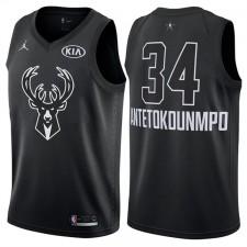 2018 All-Star Hommes Bucks Giannis Antetokounmpo &34 maillot Noir