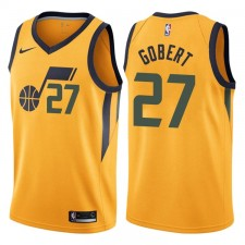 Hommes 2017-18 saison Rudy gobert Utah Jazz &27 Déclaration Or Swing maillots