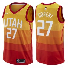 Hommes 2017-18 saison Rudy gobert Utah Jazz &27 City Édition Rouge Swing maillots