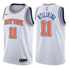 Hommes 2017-18 saison Frank Ntilikina New York Knicks &11 Déclaration chandails échangistes blancs