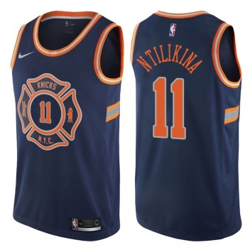 Hommes Frank Ntilikina New York Knicks #11 City Édition Marine Swing maillots