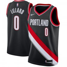 Homme 2017-18 Saison Damian Lillard Portland Trail Blazers Noir Échangiste maillots - Icône Édition