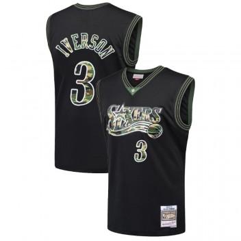 Philadelphia 76ers Allen Iverson # 3 Droit Camo Noir Maillot