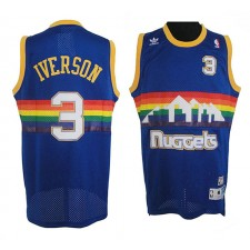 Nuggets Allen Iverson Denver ^ 3 Maillot de route Swingman Blue Soul