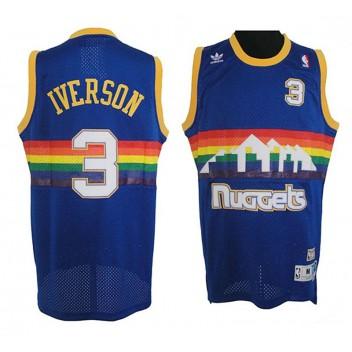 Nuggets Allen Iverson Denver # 3 Maillot de route Swingman Blue Soul