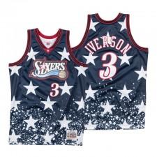 Mitchell & Ness Philadelphia 76ers ^ 3 Allen Iverson Navy Le 4ème Maillot de Rétro Swingman