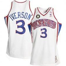 Allen Iverson Philadelphia 76ers ^ 3 Maillot Swingman Home Patch Blanc 10 ans