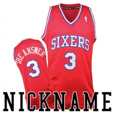 Allen Iverson ^ 3 Philadelphia 76ers Surnom La réponse Throwback Rouge Jersey Alternate