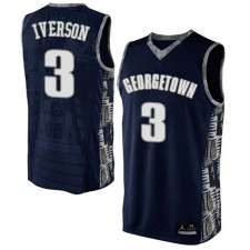 NCAA Hommes Georgetown Hoyas ^ 3 Maillot Alternatif Bleu Authentique de Basket-ball Allen Iverson Bleu Marine