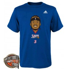 Temple de la renommée de la NBA 2016 T-shirt Royal Head Big Allen Allen Iverson de Philadelphie