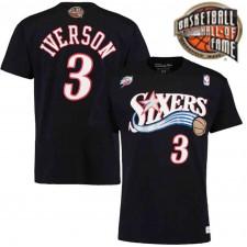 Temple de la renommée de la NBA 2016 Philadelphia 76ers ^ 3 Allen Iverson Hardwood Classics Nom & Number