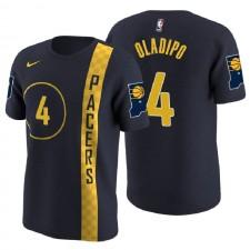 T-shirt en jersey avec nom et numéro de ville bleu marine Victor Pachas de l'Indiana ^ 4 Victor Oladipo