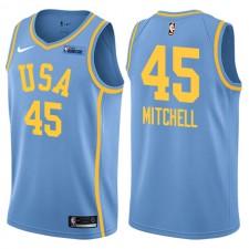 NBA All-Star Rising Stars Jeu Challenge Team USA ^ 45 Maillot Donovan Mitchell Blue Swingman