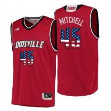 NCAA Louisville Cardinals ^ 45 Donovan Mitchell drapeau rouge des États-Unis Authentique Maillot de basketball universitaire