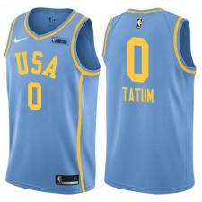 NBA All-Star Rising Stars Jeu de défi Équipe USA ^ 0 Maillot Jayson Tatum Blue Swingman