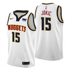 Nuggets Denver Hommes ^ 15 Jersey Swingman Blanc de l'Association Nikola Jokic