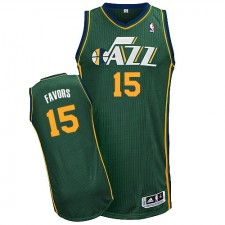 NBA Derrick Favors Authentic Men's Green Jersey - Adidas Utah Jazz &15 Alternate