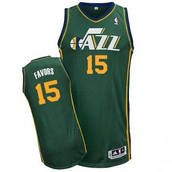 NBA Derrick Favors Authentique Hommes Vert Maillot - Adidas Magasin Utah Jazz #15 Rechange