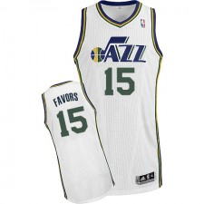 NBA Derrick Favors Authentic Men's White Jersey - Adidas Utah Jazz &15 Home