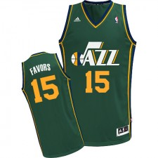 NBA Derrick Favors Swingman Men's Green Jersey - Adidas Utah Jazz &15 Alternate