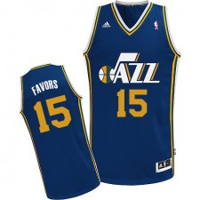 NBA Derrick Favors Swingman Men's Navy Blue Jersey - Adidas Utah Jazz &15 Road