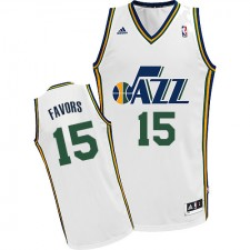 NBA Derrick Favors Swingman Men's White Jersey - Adidas Utah Jazz &15 Home