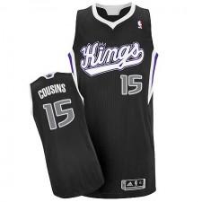 NBA DeMarcus Cousins Authentic Men's Black Jersey - Adidas Sacramento Kings &15 Alternate