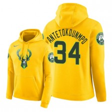 NBA Hommes Milwaukee Bucks ^ 34 Giannis Antetokounmpo City Edition Pullover - Jaune