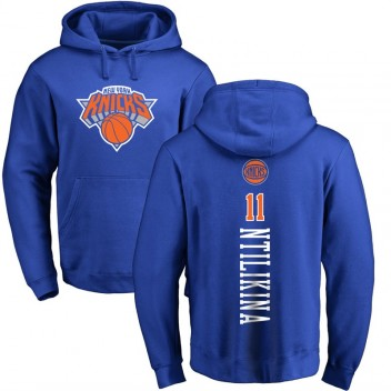 New York Knicks Fanatics pour hommes # 11 Frank Ntilikina Royal Nom et numéro Pullover Sweat à capuche