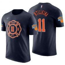 T-shirt de maillot de marine bleu marine du nom et du numéro Frank Ntilikina City ^ 11 des New York Knicks pour hommes