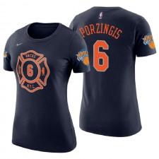 T-shirt à manches courtes en coton bleu marine avec numéro 6 de Kristaps Porzingis City Edition