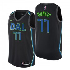 Hommes NBA Draft Dallas Mavericks ^ 77 Luka Doncic City Edition Maillot Swingman Noir