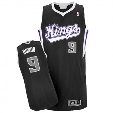 NBA Rajon Rondo Authentic Men's Black Jersey - Adidas Sacramento Kings &9 Alternate