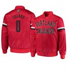 Portland Trail Blazers ^ 0 Damian Lillard Hommes Veste Le Champ Varsity Satin Rouge