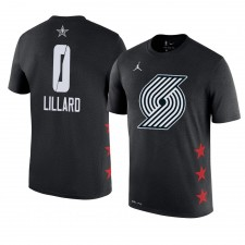 Portland Trail Blazers ^ 0 Damian Lillard Nom et numéro du match des étoiles 2019 T-shirt noir