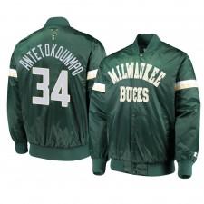 Milwaukee Bucks ^ 34 Giannis Antetokounmpo Veste Le Champ Varsity en Satin Vert pour Hommes